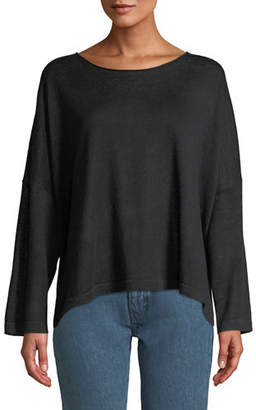 Eileen Fisher Organic Linen Jewel-Neck Box Top, Plus Size