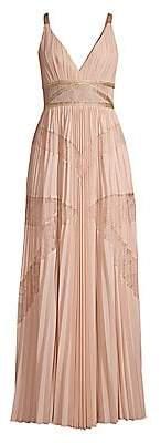 BCBGMAXAZRIA Women's Lace Pleated Georgette A-Line Dress - Size 0