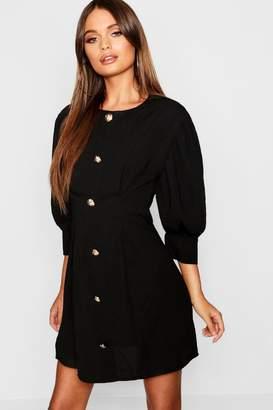 boohoo Gold Button Long Sleeve Mini Dress