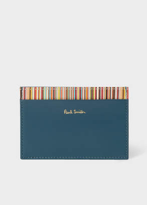 Paul Smith Men's Teal Credit Card Holder With Signature Stripe Trim