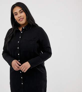 Asos DESIGN Curve denim shirt dress in black