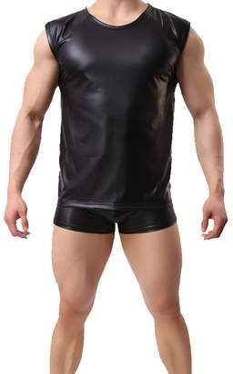 9ea65d1f8dfb2 Yodosun Sexy Mens Underwear T-Shirt Sleeveless Vest Tank Top Faux Leather  Undershirt