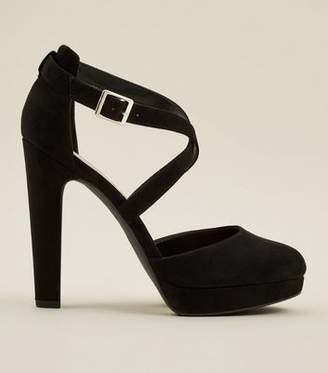New Look Wide Fit Black Round Toe Strappy Platform Courts