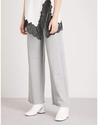 Mo&Co. Contrast drawstring cotton-blend jogging bottoms