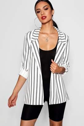 boohoo Stripe Oversized Roll Sleeve Woven Blazer