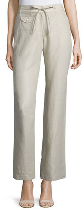 Neiman Marcus Straight-Leg Drawstring-Waist Linen Pants, Natural $125 thestylecure.com