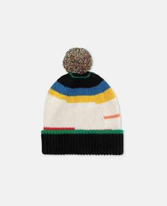 Stella McCartney Pompom Striped Knit Hat, Men's