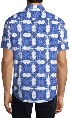 Bugatchi Men's Shaped-Fit Short Sleeve Printed Woven Shirt