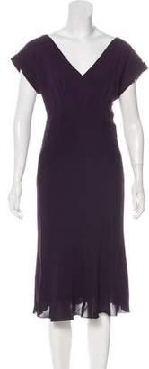 Diane von Furstenberg Short Sleeve Silk Midi Dress