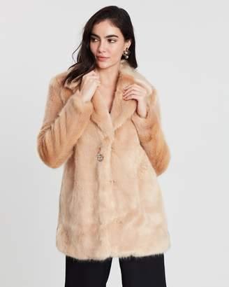 Miss Selfridge Jewel Button Long Faux Fur Coat