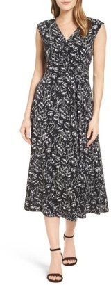 Women's Chaus Stencil Blooms Faux Wrap Midi Dress $99 thestylecure.com