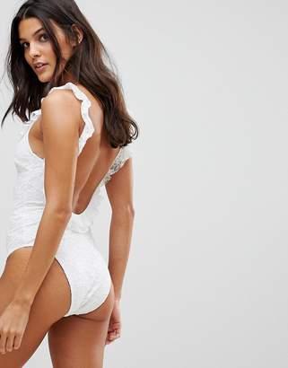 Playful Promises Bridal White Lace Ruffle Scoop Back Swimsuit