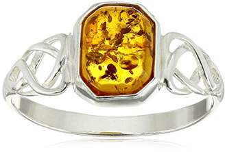 Celtic Sterling Silver Design Amber Ring