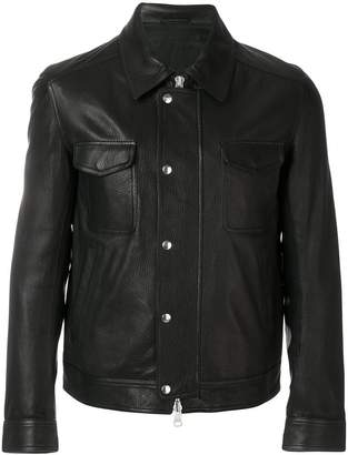 Ami Alexandre Mattiussi Grained Leather Zipped Jacket