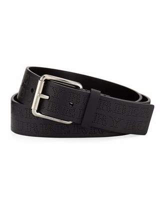 Burberry Men's Perforated Logo Leather Belt