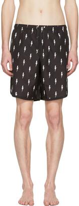 Neil Barrett Black & White Thunderbolt Swim Shorts $230 thestylecure.com