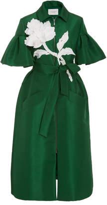 Carolina Herrera Zip Front Embroidered Dress