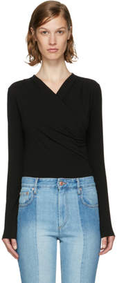 Carven Black Wrap Blouse