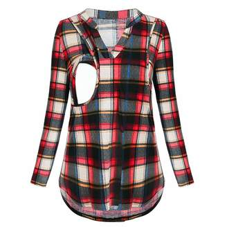 Doublelift Women's Nursing Tops Casual Long Sleeve Plaid Shirts Breastfeeding Clothes