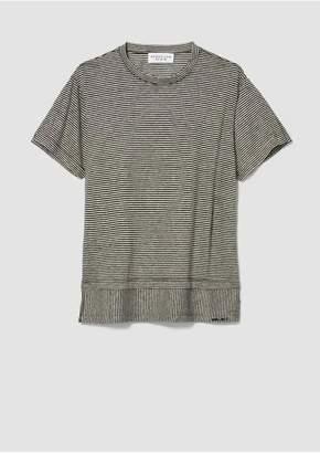 Derek Lam 10 Crosby Striped Slit Cotton Linen T-Shirt