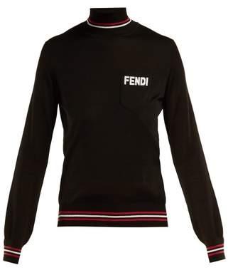 Fendi Logo Embroidered Roll Neck Silk Sweater - Womens - Black