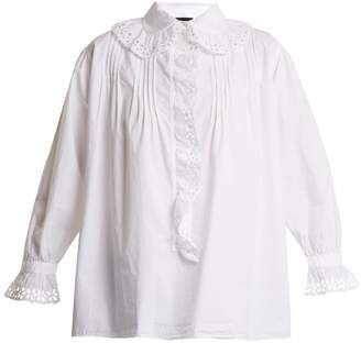 Nili Lotan Broderie anglaise-trimmed cotton blouse