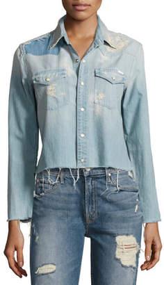 Mother Denim Super Ex's Crop Fray Shirt, Indigo $268 thestylecure.com