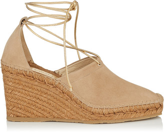 Jimmy Choo DULCET 90 Nude Suede and Gold Metallic Nappa Espadrille Wedge