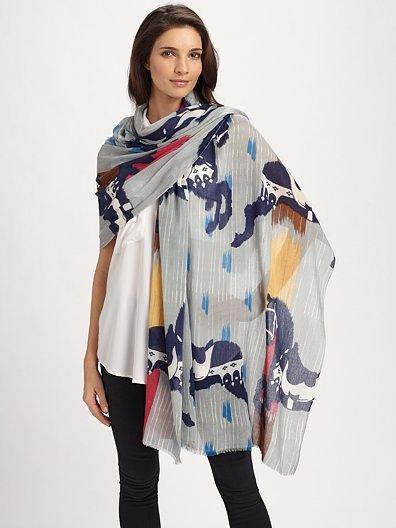 Yarnz Cashmere Horse-Print Wrap