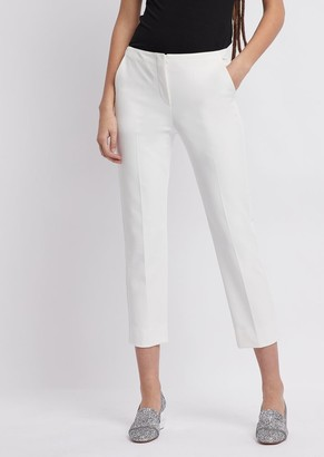 Emporio Armani Cropped Pants In Pure Cotton