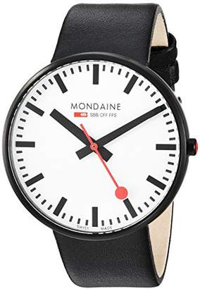 Mondaine ' SBB' Quartz Stainless Steel and Leather Casual Watch
