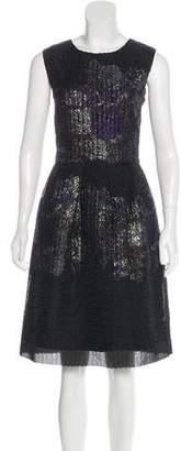 Lela Rose Metallic Jacquard Dress