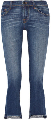 J Brand - Selena Distressed Cropped Mid-rise Bootcut Jeans - Mid denim $200 thestylecure.com