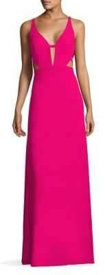 Aidan Mattox Crepe Cutout Gown