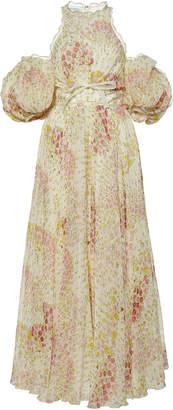 Giambattista Valli Floral Printed Cold-Shoulder Chiffon Maxi Dress Siz