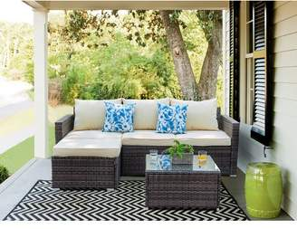 Wrought Studio Pfarr 3 Piece Rattan Sectional Seating Group Set with Cushions
