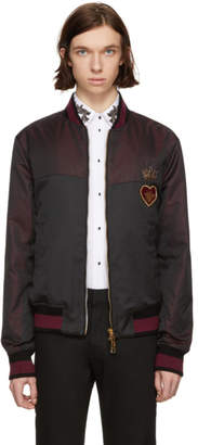 Dolce & Gabbana Black and Burgundy Jacquard Bomber Jacket