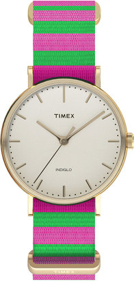 Timex Women's Weekender Fairfield Pink and Green Nylon Strap Watch 47mm TW2P91800JT $65 thestylecure.com