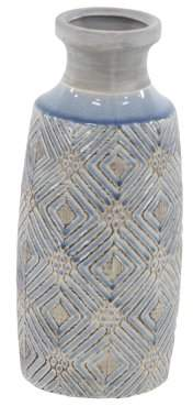 DecMode Decmode 13 Inch Traditional Ceramic Cylindrical Antique Vase, Gray