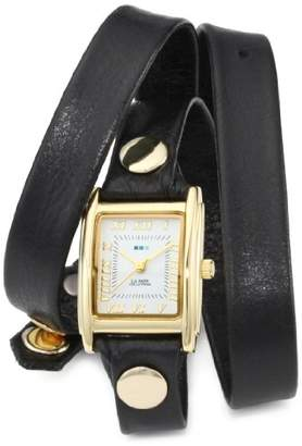 La Mer Women's LMWTW1035 Gold-Tone Watch with Black Leather Wrap-Around Band