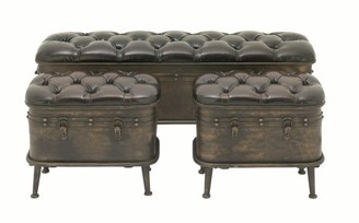 DecMode Decmode Farmhouse 20, 20, and 48 Inch Metal and Leather Cushioned Storage Benches - Set of 3