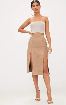 PrettyLittleThing Stone Faux Suede Double Split Midi Skirt