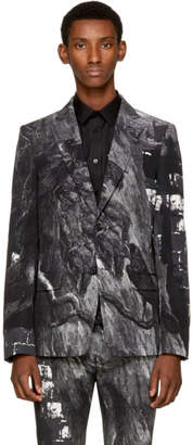 Alexander McQueen Black and White Bird Blazer