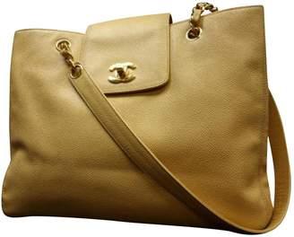 Chanel Vintage Beige Leather Handbag