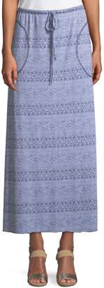 Allen Allen Ikat-Striped Maxi Skirt with Pockets