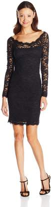 Jump Juniors Long Sleeve Stretch Lace Dress with Eyelash Trim