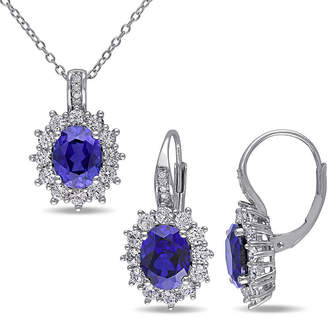FINE JEWELRY Lab-Created Blue Sapphire and Diamond Sterling Silver Earring and Pendant 2-Piece Set