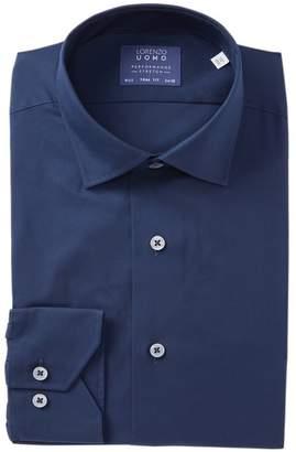 Lorenzo Uomo Travel Cotton Stretch Trim Fit Dress Shirt