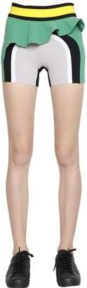 NO KA 'OI Ruffled Paneled Microfiber Shorts