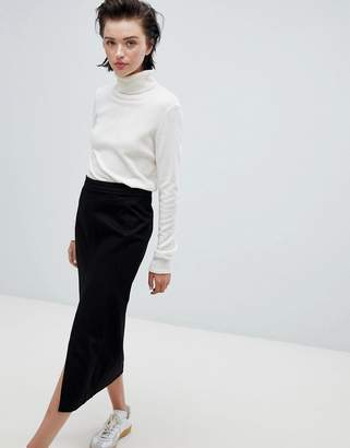 Weekday front split denim skirt in black